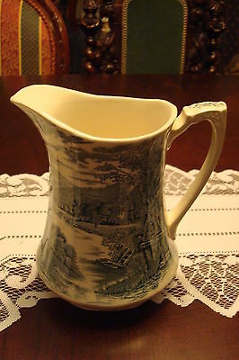 Alfred Meakin England pitcher green transferware