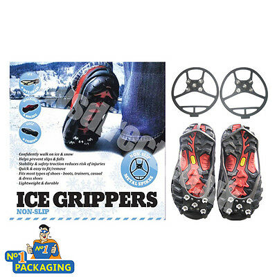 Ice Grippers Spikes Shoe Grips  Crampons For Confident Walking On Ice** Large