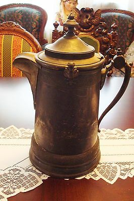 """Antique Reed & Barton silverplate/pewter coffee pot, 14"""" tall, c1800s[4]"""