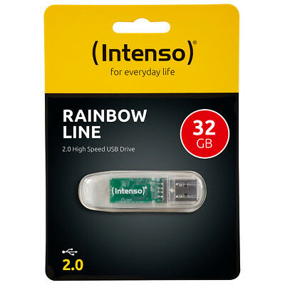 kQ Intenso USB Stick 32 GB Rainbow Line 2.0 Speicherstick 32GB transparent