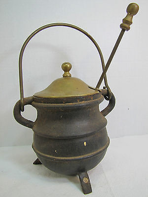 Cast Iron & Brass Pot with Tool & Top - smudge smelting melting fireplace ornate