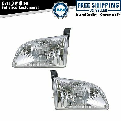 Front Headlights Headlamps Lights Lamps LH & RH Pair Set for 98-00 Toyota Sienna
