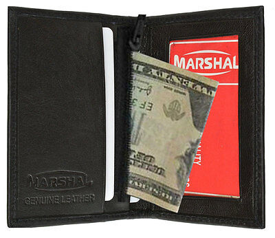 BLACK LEATHER ID Credit Cards Holder Men Wallet Zipper New W211 NWT