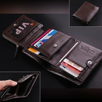 Brand New Luxury Mens Wallet Genuine Leather Boutique Trifold Zip Coins Purse