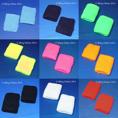 Towelling Wristbands Sports Wrist Sweat Band Sweatbands Fancy Dress Bright Neon