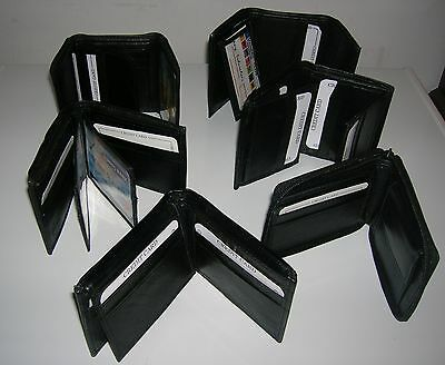 New Men quality Leather Bifold/Trifold Wallet Wholesale Lot 12 Wallets all Black