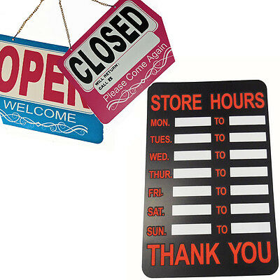 Store Shop Hours Sign We are Open REVERSE We are Closed Sign Office Restaurent