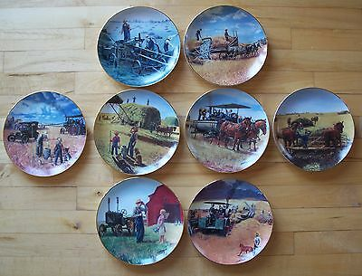 Complete Plate Set 8 FARMING THE HEARTLAND Farm Tractor Danbury Mint Emmett Kaye