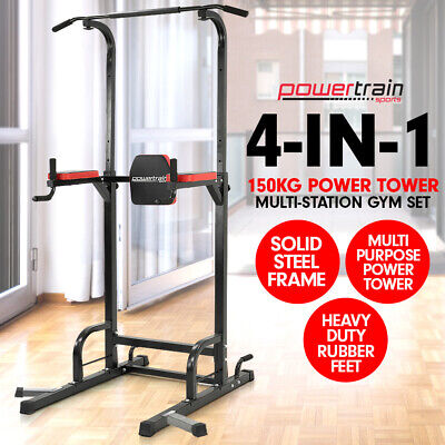Chin Up Ab Dip Station Home Gym Exercise Equipment Tower Multi Strength Training
