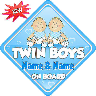 Personalised Twin Boys Child/Baby on Board Car Sign New Blue ! New Babies