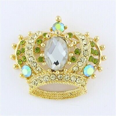 Gold Plated AB Green Rhinestone Crystal King Queen Crown Brooch Pin B1185