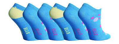 6 Pairs Girls Elle Trainer Socks, Pretty Royal Blue, size 6-8 Uk, 23-26 Eur
