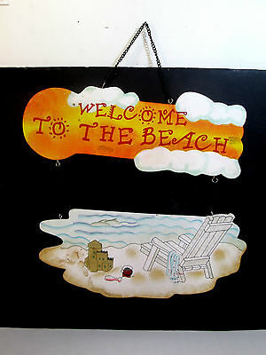 """HAND PAINTED WOOD DOUBLE BEACH SIGN. READS, """"WELCOME TO THE BEACH"""" Must See!"""