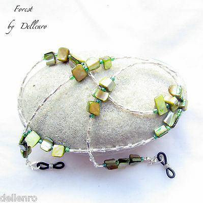 ✫Forest✫ Green Shell Beaded Eyeglass Necklace Spectacles Chain  Holder Cord