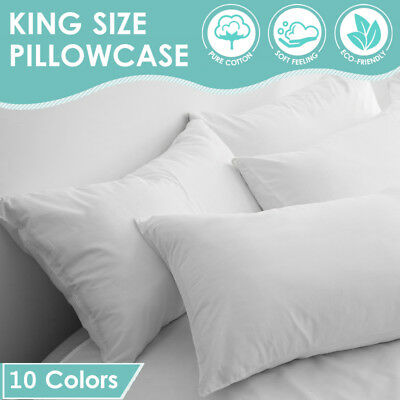 2x New Pure Natural Cotton King Size Pillow Case Cover Slip 54x94 cm