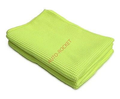 2 x Microfibre Waffle Cloths - Yellow Size 56cm x 76cm Extra large **NEW* drying