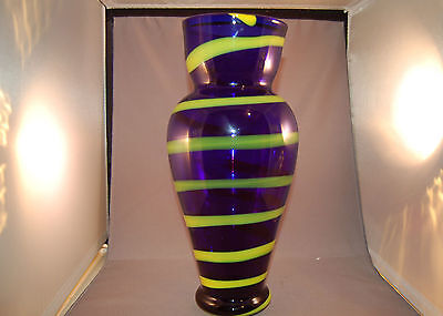 Vintage Egermann Czech Republic Large Cobalt/Yellow Striped Tall Vase w/Label!