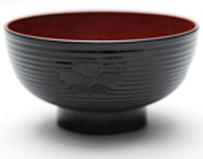 """Set of 10 Japanese 4.5/"""" Lacquer Miso Soup Rice Bowl Red Wood Grain Made in Japan"""