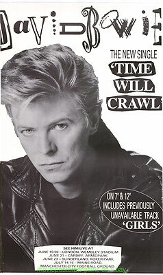 DAVID BOWIE time will crawl POSTER ULTRA RARE UK SUBWAY ALBUM PROMOTIONAL POSTER