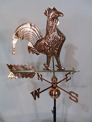 Copper Rooster Weathervane has Polished Finish with FREE ROOF MOUNT !!!