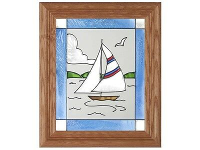 Sailboat 10.5x12.5 Hand Painted Stained Art Glass Window Suncatcher