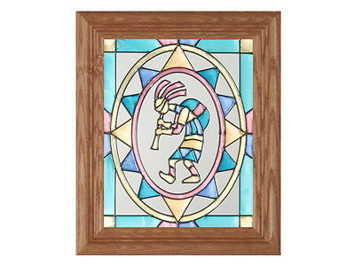 Southwest 10.5x12.5 Hand Painted Stained Art Glass Window Suncatcher