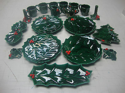Lefton's Vintage Christmas Holly Leaf Berry Set W/ Original Stickers