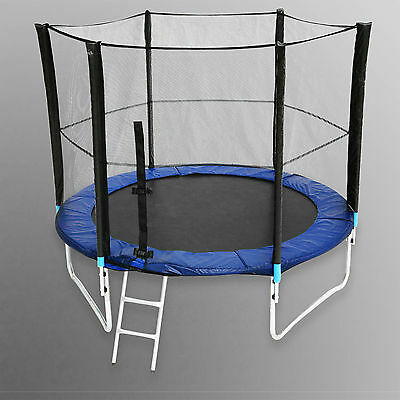 8FT Trampoline With Safety Net Enclosure Ladder Rain Cover & Padding