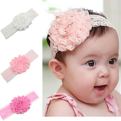 Pretty Lace Flower Baby Headband. Choice of Colour. UK