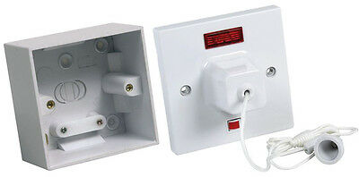 Shower pull chord with neon indicator and mounting box kit. CEDCLS45N + CEDPB145