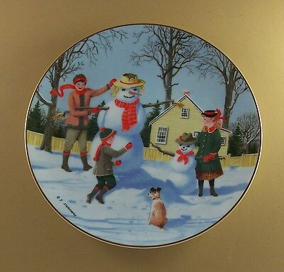 An Old Time Country Winter SNOWY FRIENDS Plate Danbury Mint Snowman