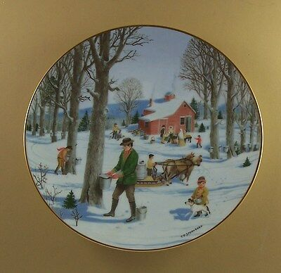 An Old Time Country Winter TAPPING THE SUGAR MAPLES Plate Maple Syrup Season