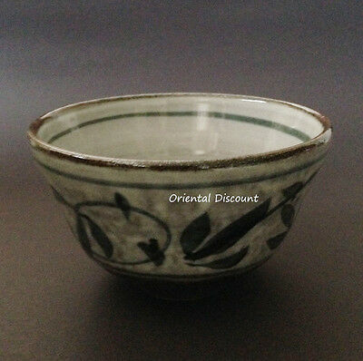 """Japanese 5""""D Matcha Cup Bowl Karatsu Floral Tea Ceremony Authentic Made in Japan"""