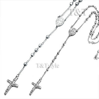 T&T Stainless Steel Rosary Bead Necklace 4mm & 6mm With Crucifix For Couple