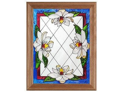Flowers #2 13.5x16.5 Hand Painted Stained Art Glass Window Suncatcher