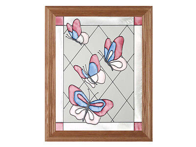 Butterflies 13.5x16.5 Hand Painted Stained Art Glass Window Suncatcher