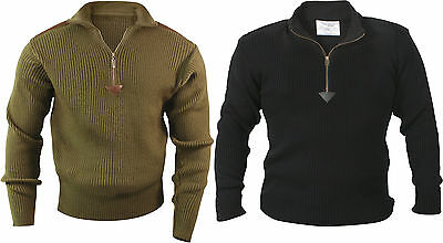 Mens Military Army Commando Quarter Zip Up Acrylic Sweater with Patches