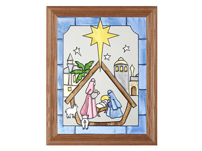 Christmas Holidays 13.5x16.5 Hand Painted Stained Art Glass Window Suncatcher