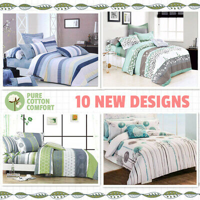 New All Size Bed Doona Quilt Duvet Cover Set 100% Cotton Super King Bedding