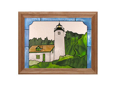 Lighthouse 13.5x16.5 Hand Painted Stained Art Glass Window Suncatcher