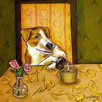 jack russell terrier art dog tile coaster gift JSCHMETZ modern folk pop