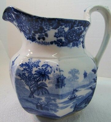 Antique Chinese Wedgwood Etruria blue&white Pitcher Pagoda Ship Asian Landscape