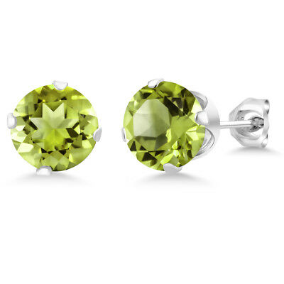 2.00 Ct Natural Green Peridot Gemstone 925 Sterling Silver Stud Earrings 6MM