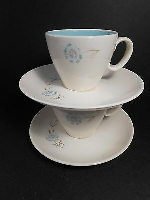 vtg Boutonniere Ever Yours 2 Cups & Saucers  Blue Flower  by Taylor Smith Taylor