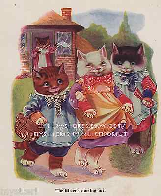 Happy Cat-Three Little Kittens-ANTIQUE Vintage COLOR PRINT-Nursery Rhyme Picture