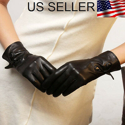 Women's 100% Genuine Leather Wrist Gloves Black