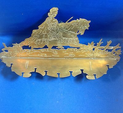 "Vintage Arts & Crafts Movement Brass Spoon Holder, Knight On Horse, 13 1/2"" W"