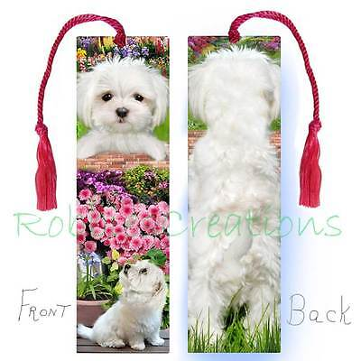 MALTESE Large BOOKMARK w/Tassel White PUP- Toy Group DOG -Book Card Art Figurine