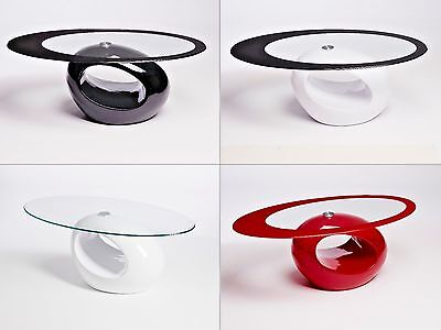 Designer Oval Black Red White Glass Coffee Table Contemporary Modern Retro