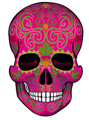 SUGAR SKULL Dia de los Muertos Day of the Dead All Soul's DECAL STICKERS -pink